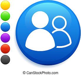 knap, ikon, omkring, gruppe, bruger, internet