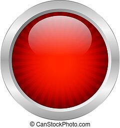 knap, vektor, rød