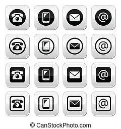 knapper, cirkel, kontakt, squar
