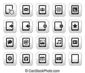 knapper, firkantet, sæt, gråne, tablet