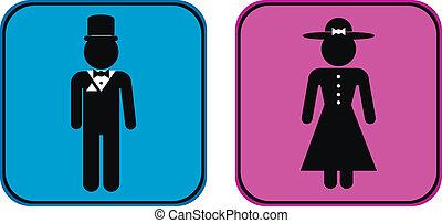knapper, mandlig, kvindelig