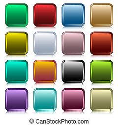 knapper, væv, firkantet, sæt