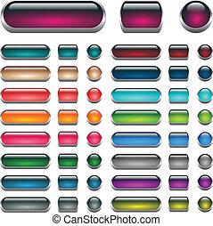 knapper, væv, sæt, aqua