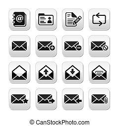 knapper, vektor, sæt, email, postkasse