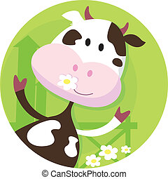 ko, karakter, glade, -, farm dyr