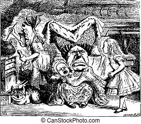 koge, alice, duchess, kat, illustration, cheshire, baby, vinhøst