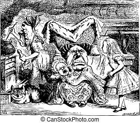 koge, illustratio, alice, duchess, kat, cheshire, baby, vinhøst