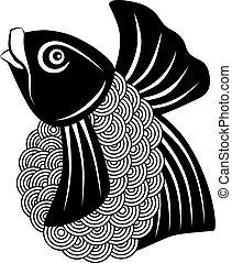 koi fisker, sort, hvid, illustration