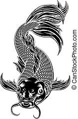 koi karpe, firmanavnet, fish, woodcut