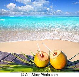 kokosnødder, karibisk strand, cocktail, paradis