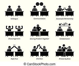 kollega, ledsagere, firma, arbejder, kontor., sammen, arbejdspladsen, tilstrækkelig