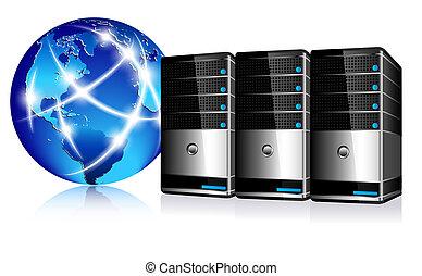 kommunikation, servers, internet