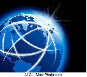 kommunikationer, klode globale, omkring, verden