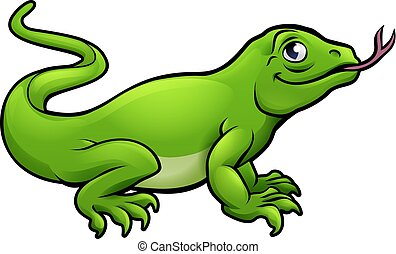 komodo, lizard, cartoon, drage, karakter