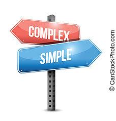 kompleks, enkel, konstruktion, illustration, tegn