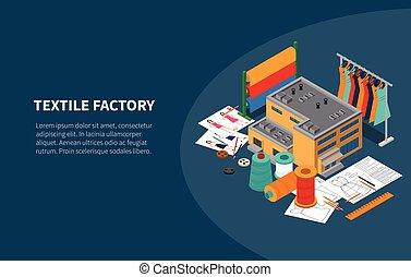 komposition, fabrik, isometric, tekstilet