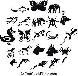 kongerige, firmanavnet, iconerne, sæt, enkel, dyr