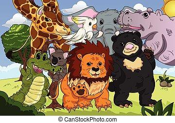 kongerige, plakat, dyr