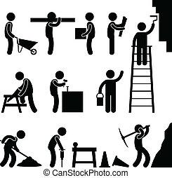 konstruktion, arbejde hårdere, labor