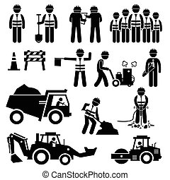 konstruktion arbejder, vej
