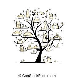 konstruktion, ?at, træ, din, familie