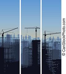konstruktion, cranes., site