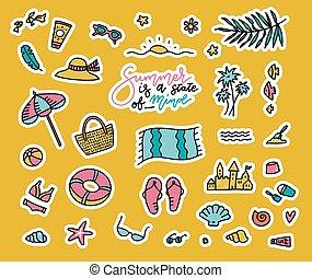 konstruktion, farverig, doodle, genstænder, sommer, mode, vektor, emblemer, strand, morskab, ferier, cartoon, lapper, concept., sæt, cute, stickers, iconerne, collection., firmanavnet