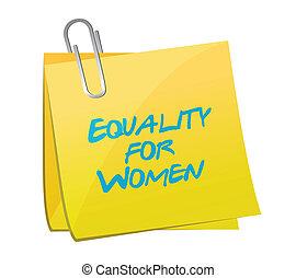 konstruktion, memorandum., lighed, illustration, kvinder