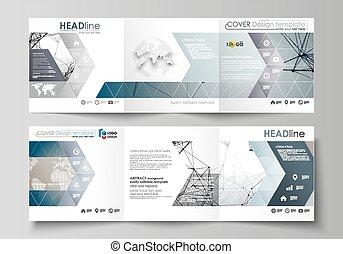 konstruktion, neurons, abstrakt, teknologi, firkantet, vektor, brochures., videnskab, medicin, firma, molekyle, scalable, graphic., afdækket, folde, layout., concept., skabeloner, structure., tri, sæt, dna., brochuren