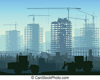 konstruktion site, crane.