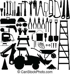 konstruktion værktøj, vektor, silhuet
