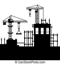 konstruktion, vektor, cranes., tårn, site