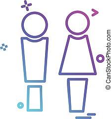 konstruktion, vektor, mandlig, kvindelig, ikon