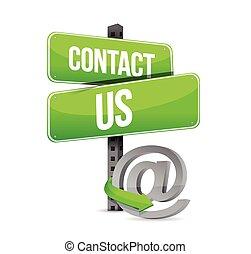 kontakt, grønne, online, os, tegn