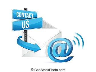 kontakt, online, email, os, tegn