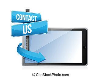 kontakt os, tablet, tegn