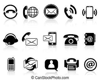 kontakt, sæt, iconerne