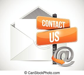 kontakt, tegn, email, illustration, os