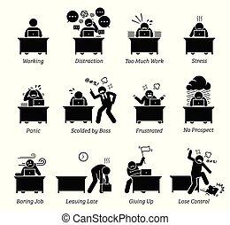 kontor arbejder, stressende, workplace., meget, arbejder