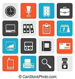 kontor, firma, lejlighed, iconerne