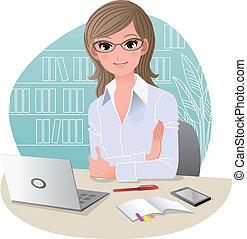 kontor, kønne, branche kvinde