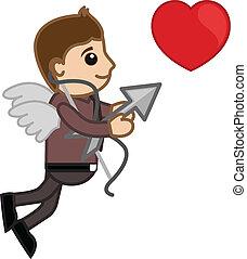 kontor, karakter, cartoon, cupid, mand