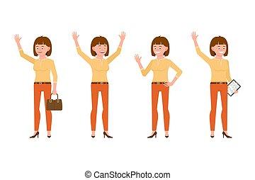 kontor, kvinde, oppe, appelsin, karakter, illustration., notere, unge, hænder, stå smile, cartoon, bukser, hår, talemåde, kønne, brun, glade, hallo, vink, vektor, pige, sæt