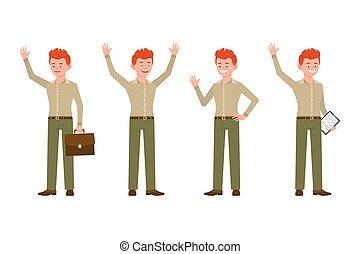 kontor, oppe, karakter, notere, illustration., dreng, unge, rød, pæn, hænder, stå smile, cartoon, bukser, hår, talemåde, glade, hallo, vink, mand, vektor, grønne, sæt