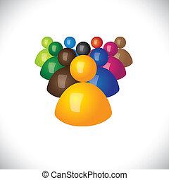 kontor, politiske, graphic., medlemmer, samfund, tegn, stab, og, vinder, -, hold, også, followers, leder, 3, farverig, illustration, ledelse, det gengi'r, denne, ansatter, iconerne, eller, vektor, tabere