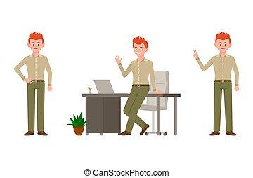 kontor, sejr, karakter, illustration., pæn, dreng, glade, unge, rød, stå smile, cartoon, tegn, bukser, hår, talemåde, hallo, vink, skrivebord, mand, vektor, grønne, sæt