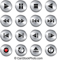 kontrol, multimedia, sæt, icon/button