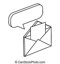 konvolut, ikon, post, isoleret, boble, tale