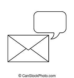 konvolut, tale boble, ikon, post