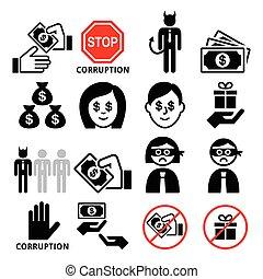 korruption, bestikkelser, korrumper, iconerne, nej, gaver, sæt, forretningsmand